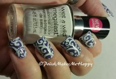 Adding swirls was a nice way to dress this purple mani up even more... and my nail friend, Danielle Doucette Hayes said swirls are good when you want something quick! smile emoticon Love this look. Stamped with Creative Shop Stamper, using Pueen #65.