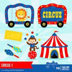 CIRCO 1 Digital Clipart Circo Clipart Payasos Clipart / por grafos
