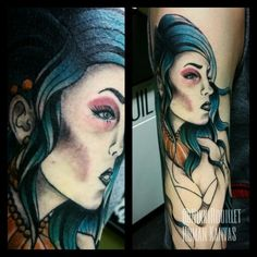 Neotraditional mermaid tattoo