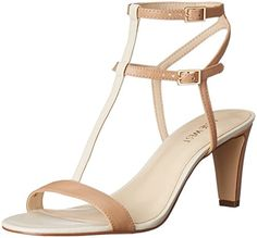b0c1afd2131b Nine West Women s Dacey Synthetic Heeled Sandal Dress sandal in color texture-blocking  featuring dual buckled ankle straps and elongated center T-strap ...