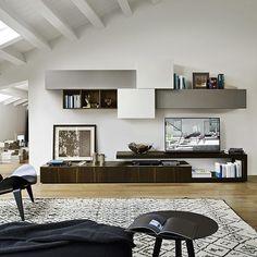 designermobel von livarea on instagram die moderne wohnwand c31 mit hangeschranken in unterschiedlichen tiefen und einem schicken lowboard