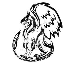 griffin tattoo design by awesome griffin tribal tattoo . Tribal Tattoos, Gamer Tattoos, Boy Tattoos, Body Art Tattoos, Tatoos, Griffon Tattoo, Greif Tattoo, Dragon Silhouette, Native American Flute