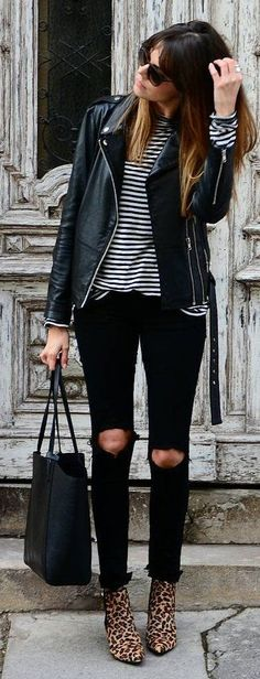Black Leather Jacket / Striped Top / Destroyed Skinny Jeans / Leopard Booties