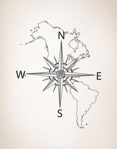 Nautical Map of North & South America w/ Compass Vinyl Wall Decal #6018