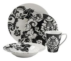 Black Damask Plates...add another color and pattern to this one and WHAA LAAA...You Got Gorgeous!