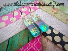 Blinged out Waves Dichroic Glass Earrings by AlohaMomCreations