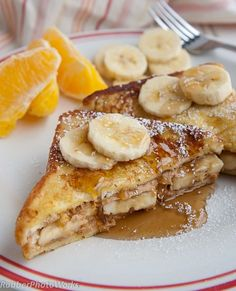 Peanut butter banana french toast deliciousness.