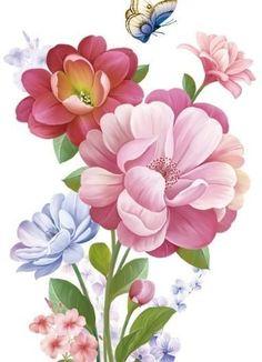 kb – World of Flowers Flora Flowers, Bunch Of Flowers, Botanical Flowers, Botanical Prints, Watercolor Texture, Watercolor Flowers, Art Floral, Illustration Blume, Apple Prints
