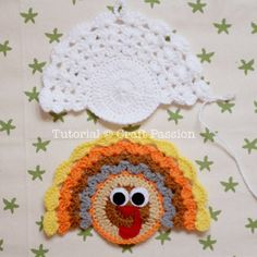 Crochet Turkey Coasters And Ornaments | Free Pattern & Tutorial at CraftPassion.com8 - crochet coaster back