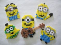Assorted Minions perler beads by Angela Albergo