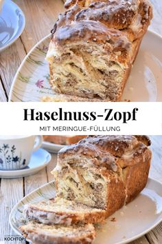 Fluffiger Haselnuss-Zopf Fluffy hazelnut braid with delicious merinuge filling. Easy Cake Recipes, Easy Desserts, Baking Recipes, Dessert Recipes, Dessert Simple, Food Cakes, Zopf Recipe, Cooking Chef Gourmet, Easy Meals For Kids