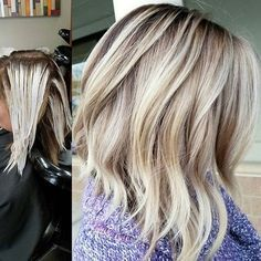 Balayage Application and After. Root shadow done with Paul Mitchell The Color 6PN and 10 vol. Balayage hilites with @oligopro Blacklight Balayage clay lightener and extra blonde lightener. Toned with PM SHINES 9A