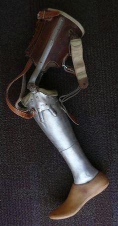 Vintage Half Metal Prosthetic Leg - Leather Cuff - Steampunk Gothic. $315.00, via Etsy.