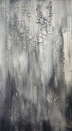 This is an original textured abstract painting by Amy Neal on professional 24 x 30 x 1.5 gallery-wrapped canvas. A modern-rustic approach with an organic distressed feel. Subdued qcrylic and oil in shades of white, gray, and golden off-white. Minimalist with lots of details in the