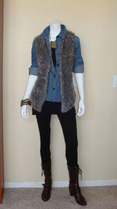 Daily Look: CAbi Fall '12 Tavern Shirt, Ultimate Tank, Simple Cami in black, Ponte Legging, and Shaggy Vest.  I will so wear this!