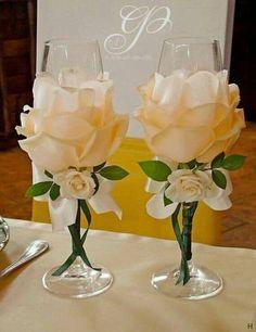 Wedding Glasses By Kittysspot On Etsy - Diy Crafts Wine Glass Crafts, Bottle Crafts, Bottle Art, Wedding Centerpieces, Wedding Decorations, Wine Glass Centerpieces, Wedding Ideas, Centerpiece Ideas, Birthday Decorations