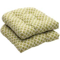 Outdoor Green and White Geometric Wicker Seat Cushions (Set of 2). Overstock.com. Use with wicker chairs? for kitchen?