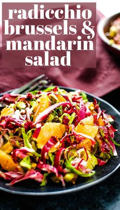 Want a quick and easy salad recipe that's light and healthy and a perfect starter to a larger holiday meal? This simple shaved brussels sprouts salad with ribbons of radicchio, sweet tangy mandarin orange segments and crunchy pistachios is the best. You'll love the citrus maple vinaigrette - a classic homemade dressing that's perfect for this Thanksgiving or Christmas appetizer salad.