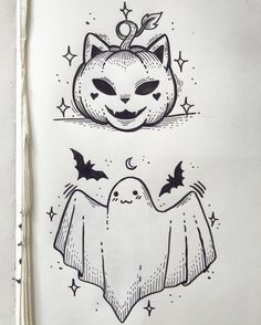halloween tattoos Credit to Sailormisaki Body Art Tattoos, Sleeve Tattoos, Tatoos, Cute Drawings, Drawing Sketches, Tattoo Drawings, Halloween Doodle, Cute Halloween Drawings, Cute Halloween Tattoos
