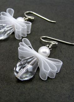 Angel Earrings, May Your Every Wish Come True, Christmas, Sterling Silver - Christmas Jewelry Beaded Christmas Ornaments, Christmas Angels, Christmas Crafts, Xmas, Diy Christmas Earrings, Silver Ornaments, Diy Ornaments, Christmas Poinsettia, Crochet Ornaments