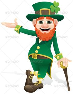 Leprechaun Presenting — Photoshop PSD #happy #leaning • Available here → https://graphicriver.net/item/leprechaun-presenting/149618?ref=pxcr
