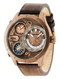Police-Mens-Quartz-Watch-with-Rose-Gold-Dial-Analogue-Display-and-Brown-Leather-Strap-14638XSQR32