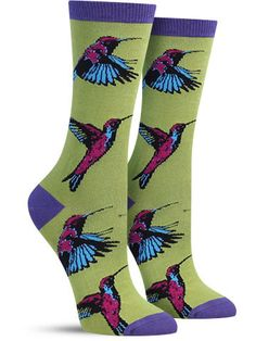 Male hummingbirds can achieve speeds of over 400 body lengths per second when trying to impress females… and we think that's how fast you should be moving to your shopping cart to make this colorful p Silly Socks, Crazy Socks, Cute Socks, Odd Socks, Awesome Socks, Women's Socks, Sloth Socks, Bamboo Socks, Sock Animals