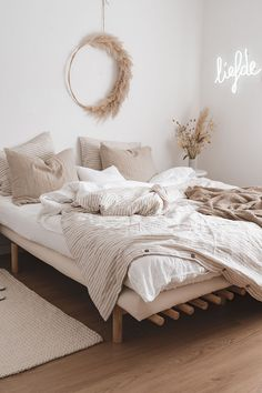 Create a calm oasis in your sleeping space with linen bedding in earthy tones. Discover our selection of linen sheets > #CheapHomeDecorStores Room Design Bedroom, Room Ideas Bedroom, Home Decor Bedroom, Bedroom Inspo, Decor Room, Ikea Bedroom, Bedroom Inspiration, Bedroom Furniture, Wall Decor
