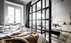Designs by Style: Small Bedroom Design - 5 Scandinavian-Style Apartments Living Room Bedroom, Bedroom Apartment, Bedroom Decor, Apartment Living, Studio Apartment Decorating, Apartment Design, Small Apartments, Small Spaces, Lounge Design