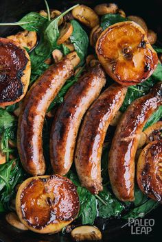 Skillet Sausages with Pan Seared Apples - Perfect Paleo Diet Pork Recipes, Paleo Recipes, Cooking Recipes, Paleo Vs Keto, Loaded Sweet Potato, Paleo Whole 30, Paleo Breakfast, Perfect Food, Sausages