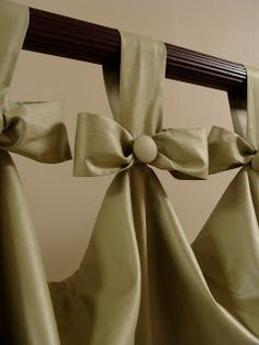 In this pretty and simple idea for tab top curtains, replace the bow with a pinecone from your yard glued into a pretty, sparkly ribbon to create a special custom header for your window treatments ~ Tab Top Curtains, Home Curtains, Window Curtains, Ruffle Curtains, Burlap Curtains, Window Seats, Rowley Company, Custom Window Treatments, Passementerie