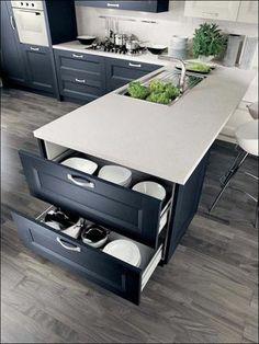 mobilier noir, plan travail blanc et sol grisé