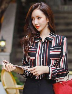 StyleOnme_Multi-color Pinstripe Collared Blouse #stripe #elegant #chic #koreanfashion #autumnlook #seoul #trend #feminine #kstyle