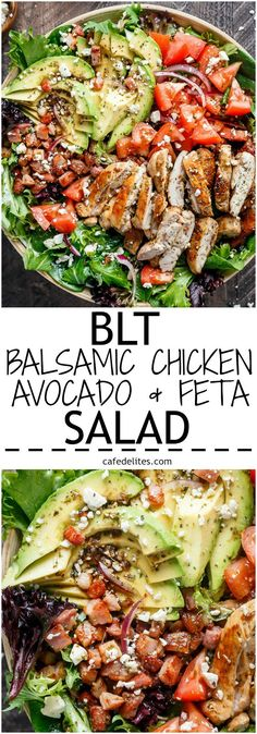 BLT Balsamic Chicken Avocado Feta Salad is a delicious twist to a BLT in a bowl, with a balsamic dressing that doubles as a marinade! You won't even miss the bread in this mega loaded salad. | http://cafedelites.com