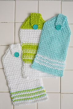 Kitchen Casual Hanging Towels - Accessorize your kitchen with this set of three Tunisian crochet hanging towels. Use colors that match your kitchen's theme or stick with simple neutrals. These simple patterns are perfect to work up for your own kitchen or as a homemade housewarming gift for a dear friend. From the August 2015 issue of I Like Crochet