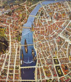 Bird's eye map of Prague Prague Map, Prague City, Prague Guide, Paris, Prague Czech Republic, Excursion, Travel Illustration, Old Maps, Central Europe