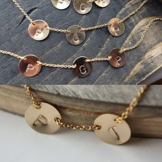 Modern Stamped Initial Necklace - Gold Filled - Hand Stamped - Choose Your Length & Number of Initials - Personalized Necklace Dainty Gold Jewelry, Unique Jewelry, Initial Necklace, Gold Necklace, Personalized Necklace, Hand Stamped, Initials, Handmade Gifts, Number