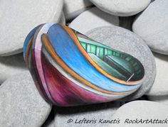 Painted Stone Colorful Fishing Boat For Home by RockArtAttack
