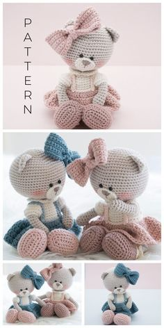 Crochet Teddy Bear Pattern Free, Teddy Bear Patterns Free, Crochet Amigurumi Free Patterns, Crochet Animal Patterns, Crochet Doll Pattern, Crochet Dolls, Crochet Teddy Bears, Easter Crochet, Cute Crochet