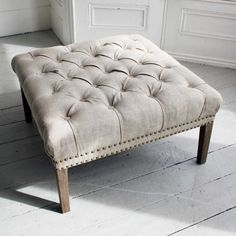 I'm not sure about the colour buttons - but you could get your chesterfield look in a footstool like this - rather than on the actual sofa. Bath Button Footstool With Coloured Buttons Ottoman, Upholstered Footstool, Tufted Ottoman, Furniture, Sofa Upholstery, Soft Furnishings, Footstool, Coffee Table, Occasional Chairs