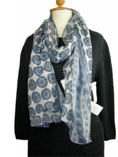 #GerryWeber Deauville #sjaal blauw wit bollenprint voile