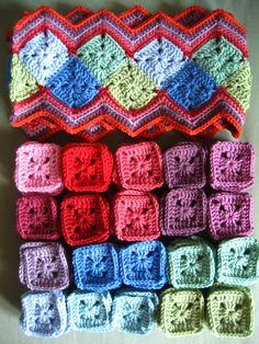 setting squares into a zig zag rug #crochet #grannysquares