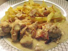ΜΑΓΕΙΡΙΚΗ ΚΑΙ ΣΥΝΤΑΓΕΣ 2: Φιλέτο κοτόπουλο αλά κρεμ !!! Recipies, Chicken, Meat, Food, Recipes, Hoods, Meals, Cooking Recipes