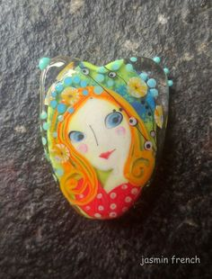 jasmin french  '  raining flowers '  lampwork focal bead ooak