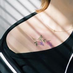 """""""라일락  . Lilac flower tattoo . #tattoo#tattooist#tattooistsol#솔타투#lettering#soltattoo#color#colortattoo#꽃타투#flowertattoo#flower#꽃#equilattera…"""""""