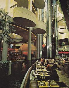 "Bonaventure Hotel Interior View. You might recognize the elevator form ""High Anxiety"". Home of the Beatlefests in the 80's."