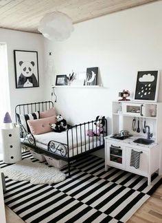 black and white kids bedroom