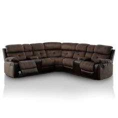 Traditional Brown Microfiber Leather Reclining Sectional Sofa