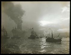 The RMS Mauretania leaving the Tyne in 1906 by Edgar G Lee.   Flickr - Photo Sharing!