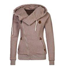 2016 New Women Winter Spring Zipper Hooded Sweatshirts Outwear swear Zip-up Tie Collar Hoodies C813